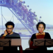 Sophie Lagier/performance dans l'exposition Aéroports/ville-monde